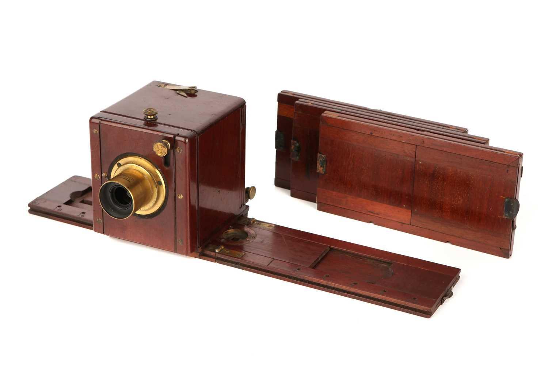 """Lot 1311-A C. T. Crouchton 2¾x3¼"""" Stereo Sliding Wet Plate Mahogany Camera"""