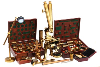 """Lot 1 - An Exceptionally Fine Powell & Lealand """"No. 1"""" Compound Monocular/Binocular Microscope Outfit"""