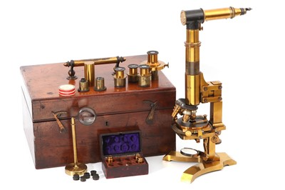 Lot 12-A Large 19th Century German Compound Microscope Outfit
