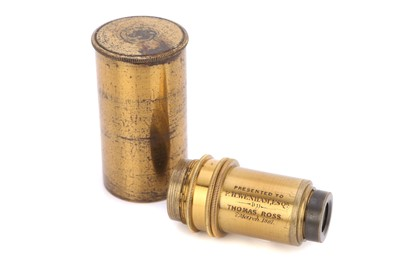 Lot 2-A Presentation Microscope Objective From Thomas Ross to Francis Wenham, 1861