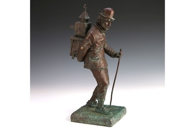 "Lot 89-A Large Bronze Sculpture ""The Showman with Magic Lantern"""