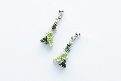 Lot 5 - A Pair of 18ct White Gold Diamond, Peridot & Tourmaline Earrings