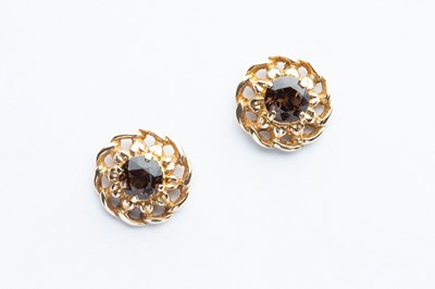 Lot 6 - A Pair of 9ct Yellow Gold Smokey Quartz Earrings