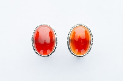 Lot 12 - A Pair of Silver Oval Carnelian Cufflinks