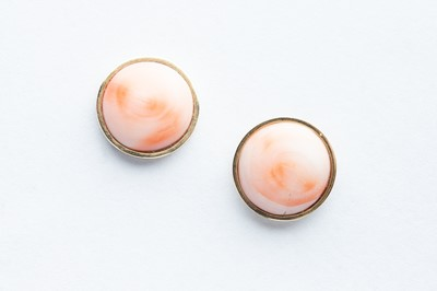 Lot 16 - A Pair of 9ct Yellow Gold Pale Pink Coral Earrings