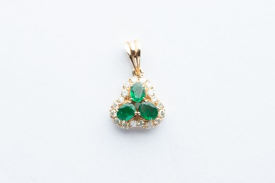 Lot 20 - A 14ct Yellow Gold Emerald & Diamond Pendant