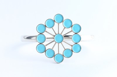 Lot 29 - An Astrid Fog for Georg Jensen Silver & Powder Blue Enamel Flower Bangle Bracelet