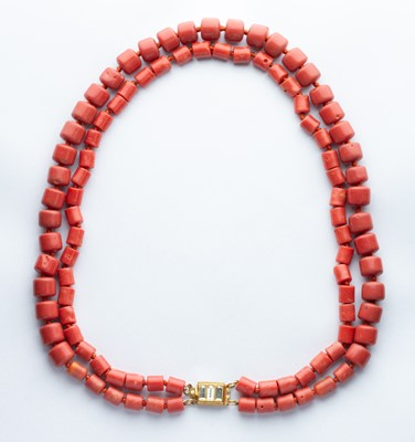 Lot 38 - A Double Row Red Coral Necklace