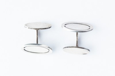 Lot 41 - A Pair of Georg Jensen Silver Dished Oval Form Cufflinks
