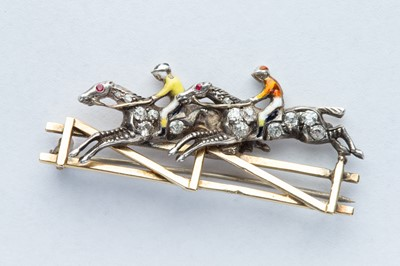 Lot 42 - A Fine Gold & Diamond Horse Racing Brooch
