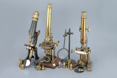 Lot 30 - Collection of 3 Brass Microscope & Accessories