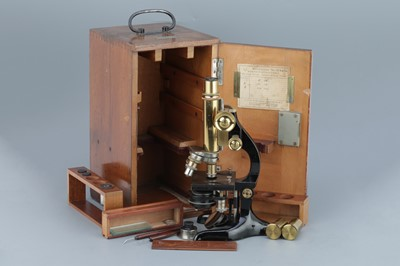 Lot 34 - Leitz Brass Compound Monocular Microscope