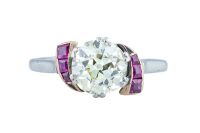 Lot 1 - An Art Deco diamond and ruby ring.