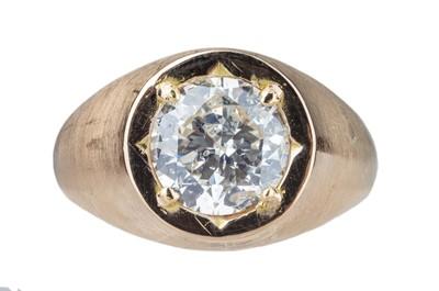 Lot 93 - A gentleman's single stone diamond ring.