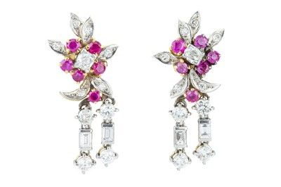 Lot 37 - A pair of 1950s convertible ruby and diamond day and night drop earrings.