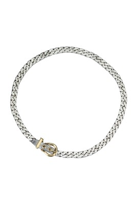Lot 86 - HERMES. An edgy silver collar with 18 ct gold yellow buckle.