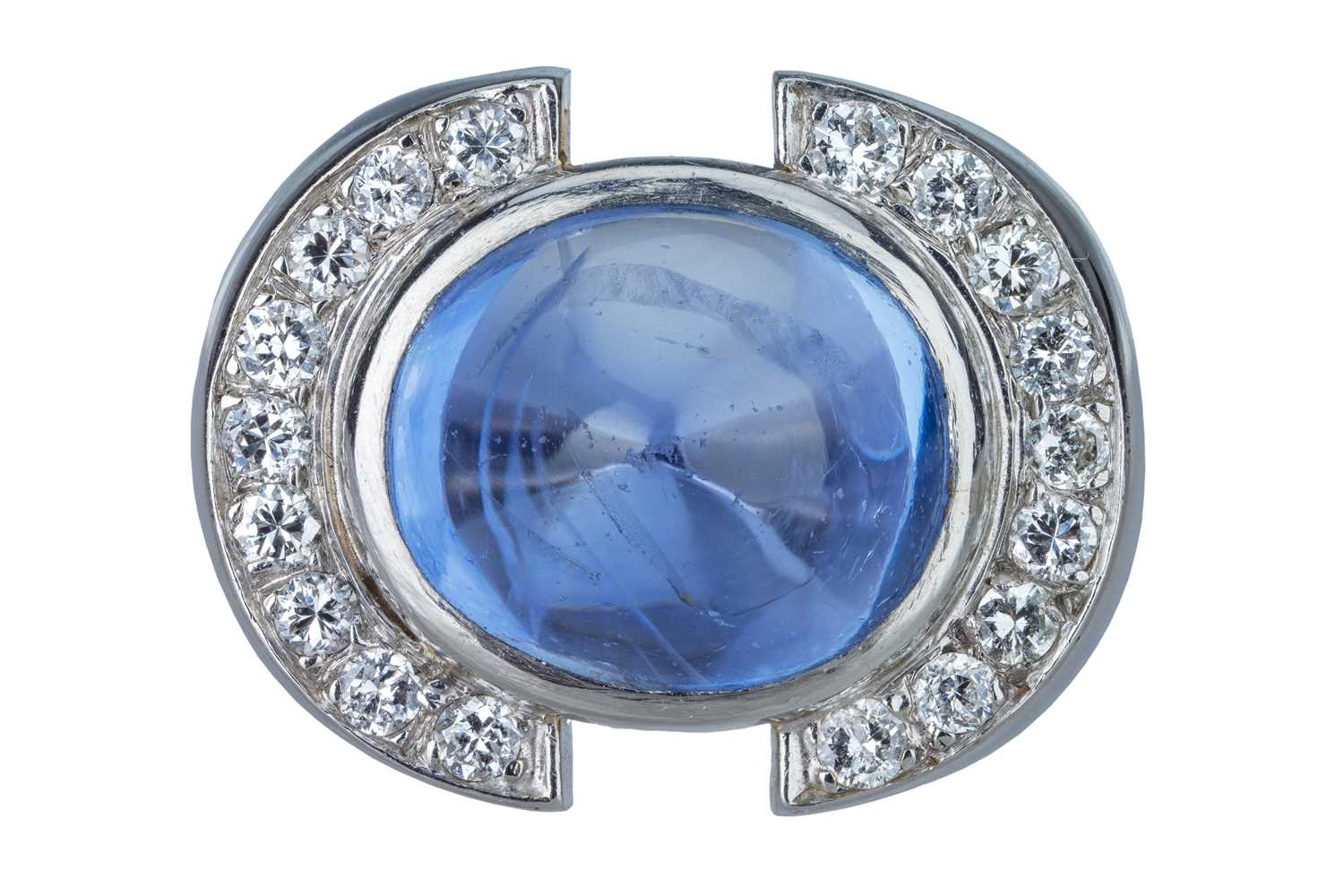 Lot 5 - A French Art Deco cabochon sapphire and diamond cocktail ring.