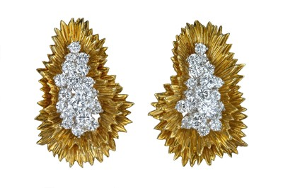 Lot 46 - A spectacular pair of yellow gold and diamond ear clips.