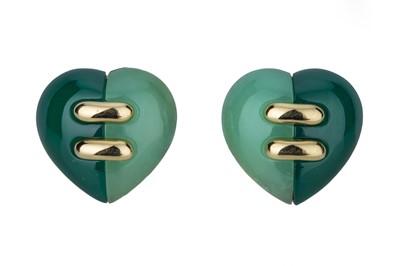 Lot 85 - BULGARI. A pair of gold and hardstone heart earrings.