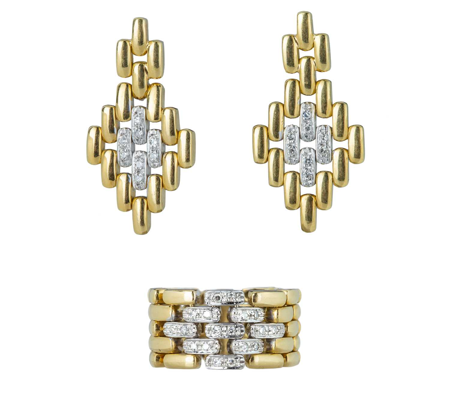 Lot 33 - A 1960s yellow gold and diamond tank-track ring and earring set.