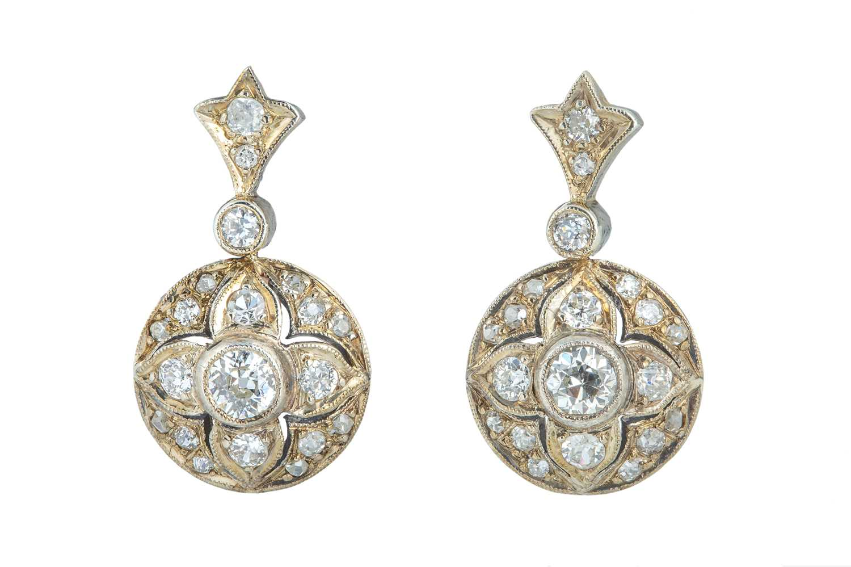 Lot 35 - A pair of Victorian diamond earrings.