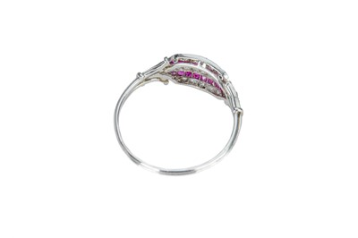 Lot 13 - A French Art Deco ruby and diamond plaque ring.