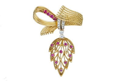 Lot 52 - A mid 20th century ruby and diamond bow brooch.