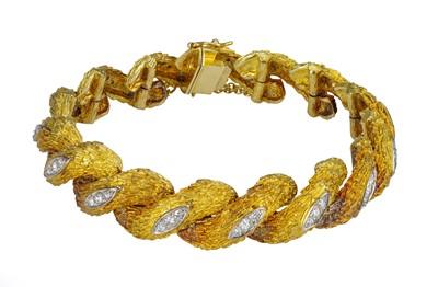 Lot 55 - An 18 carat yellow gold and diamond bracelet.