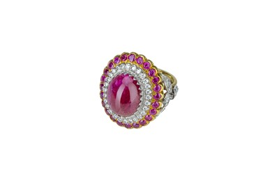 Lot 30 - An impressive Indian ruby and diamond dress ring.