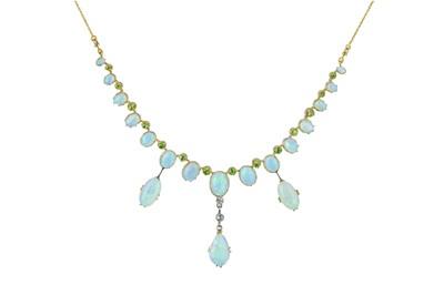 Lot 74 - An Edwardian opal and demantoid garnet necklace.
