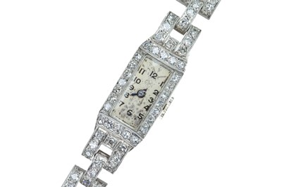 Lot 64 - A lady's French Art Deco diamond and platinum cocktail watch.