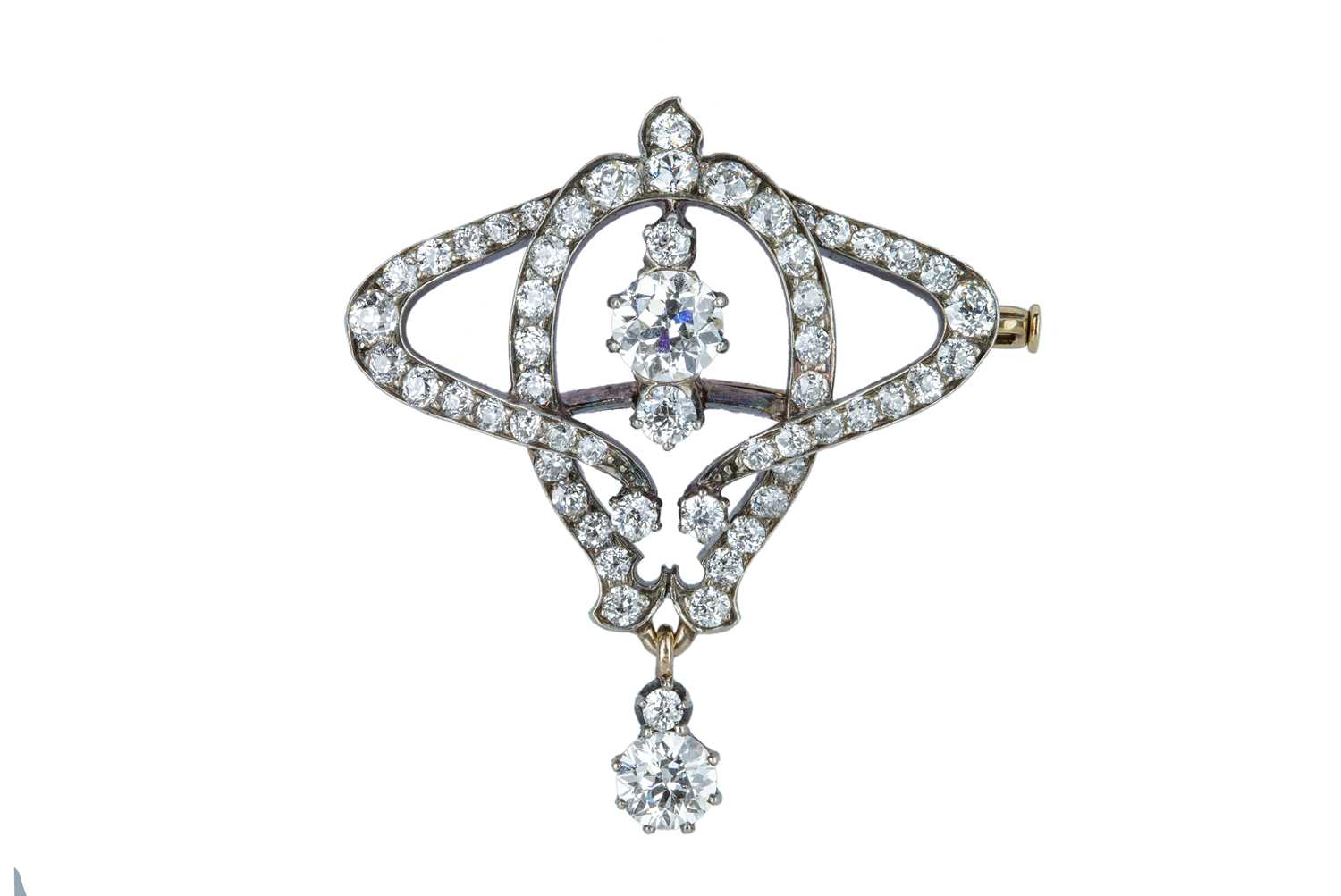 Lot 50 - A late 19th century French diamond scroll brooch.