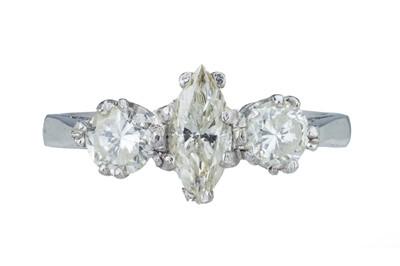 Lot 16 - A diamond three stone ring.