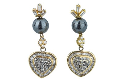 Lot 43 - A pair of diamond and hematite earrings.