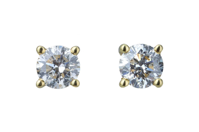 Lot 39 - A pair of diamond ear studs.