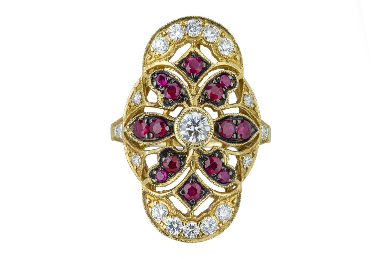 Lot 29 - An exquisite ruby and diamond dress ring.