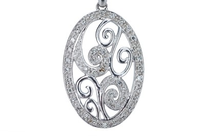Lot 78 - A white gold and diamond pendant.