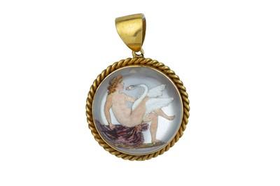 Lot 69 - A Victorian reverse crystal intaglio pendant.
