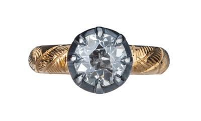 Lot 91 - A Georgian style single stone diamond ring.
