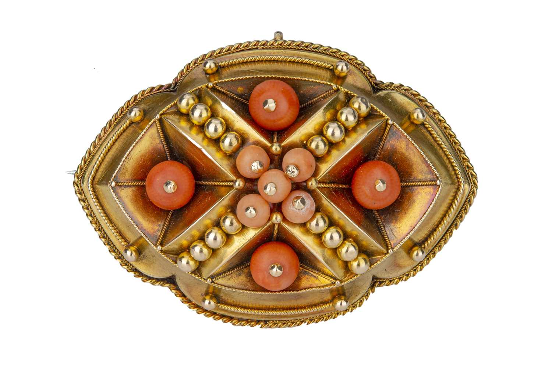 Lot 48 - A Victorian coral boss brooch.