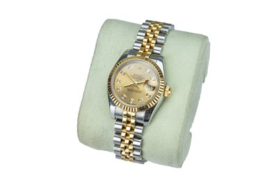 Lot 68 - ROLEX. Oyster Perpetual 'DateJust'. A lady's yellow gold and steel wristwatch.