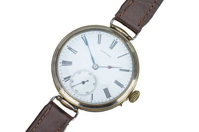Lot 61 - LONGINES. An early 20th century chrome plated wristwatch.