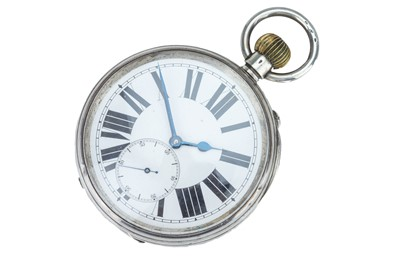 Lot 60 - An early 20th century Swiss silver open faced 'Goliath' pocket watch.