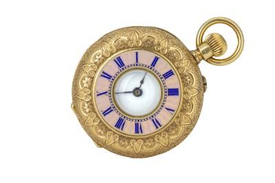 Lot 59 - A 19th century Swiss 18ct gold half hunter fob watch.