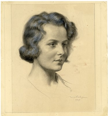 Lot 46 - A Pencil drawing of a Young Woman