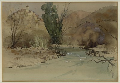 Lot 48 - An Italian Hill Village, watercolour by Laurence Irving (1897-1988)