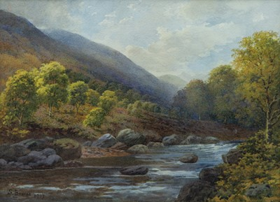 Lot 53 - A Highland River, Watercolour  by Samuel Bourne (1834-1912)